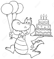 outlined birthday crocodile holding up a birthday cake with