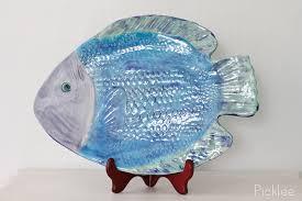 ceramic fish platter handmade ceramic fish platter blue green flounder large