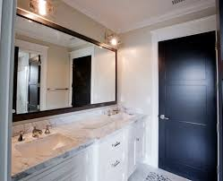 Black Mirror Bathroom White Bathroom Vanity With Black Mirror Contemporary Bathroom