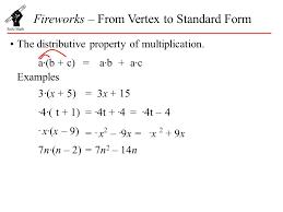 fireworks u2013 from vertex to standard form the distributive property