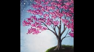 blossoming tree acrylic painting with sponge painted background