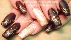 dark wine diva nails fall henna long nail art design tutorial