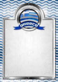 Greek Flag Background Empty Signboard With Metal Frame And Symbol Of Greece With Greek