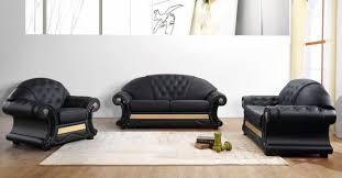 genuine leather sofa set vig divani casa cleopatra traditional black genuine leather sofa set