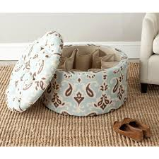 furniture tufted leather ottoman floor poufs blue storage ottoman