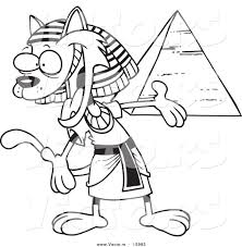 vector of a cartoon egyptian cat presenting a pyramid outlined