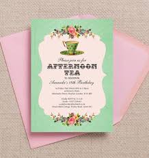 vintage afternoon tea themed 18th birthday invitation from
