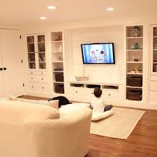 Media Room Built In Cabinets - wall of built ins out of ikea hemnes cabinets hometalk