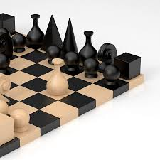 Wooden Chess Set Man Ray 32 Piece Chess Figure Set For Sale