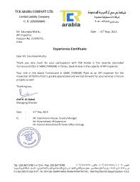 Experience Letter India experience certificate for yansab saudi arabia
