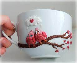 cute pink birds personalized mugs custom mug polymer