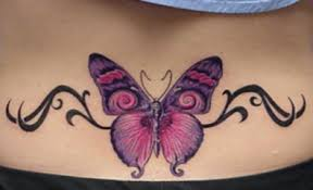 pink butterfly lower back designs