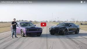 mustang vs challenger vs camaro hellcat challenger vs zl1 camaro roll on drag race hennessey