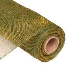 deco poly mesh ribbon two tone moss green gold