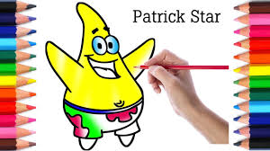 coloring patrick star coloring book page crayons how to