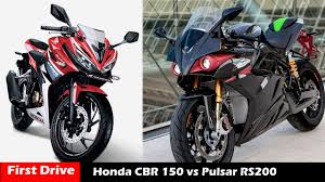 honda cbr showroom new honda cbr 150 vs bajaj pulsar 200rs compare first drive