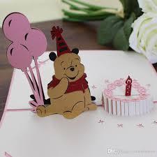 pink teddy bear brithday card love pop up greeting cards birthday
