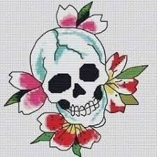 blooming skull extract from kills slowly cross stitch by ed