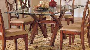 tinted glass table top height back brown fabric cushioned dining chair combined rectangle