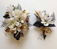 prom corsage and boutonniere black chagne corsage boutonniere set wedding or prom