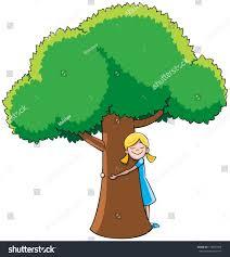 tree hugger hugging tree stock vector 115847509