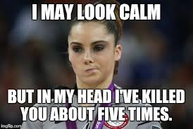 Unimpressed Meme - mckayla maroney not impressed i may look calm but in my head i
