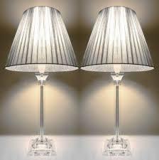 Buy Table Lamp 2x Acrylic U0026 Ribbon Bedside Table Lamps In Silver Buy Table Lamps