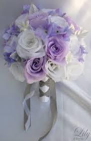 Purple Wedding Flowers 17 Piece Package Bridal Bouquet Wedding Bouquets By Lilyofangeles