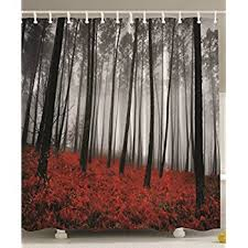 84 Inch Long Shower Curtains Amazon Com Extra Long Shower Curtain Mystic Forest By Ambesonne