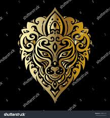 lion head tribal pattern polynesian tattoo stock vector 309842105