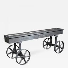 vintage industrial conference console dining table cart