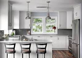 backsplash for black and white kitchen white island with granite countertop gray subway tile backsplash