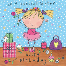 happy birthday sister card with unicorn