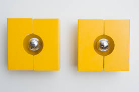 Yellow Wall Sconce Mod Enameled Yellow Metal 70s Wall Sconce From La Plagne Ski