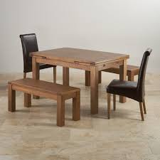 extending table rustic oak dining set extending table 2 benches and 2 chairs