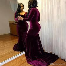 plus size velvet long sleeves purple prom dresses 2017 mermaid