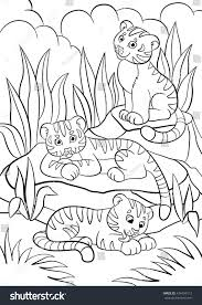 coloring pages wild animals three little stock vector 434439112