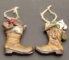 tree ornaments resin cowboy boot ornaments set 2
