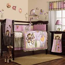 bedroom design colorful circles crib blankets brown wooden