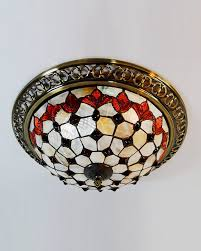 Flush Mounted Ceiling Lights by Decorative 3 Light Stained Glass Flush Mount Ceiling Light