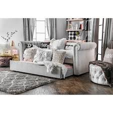 daybed in living room furniture of america nellie tuxedo style tufted flax daybed with