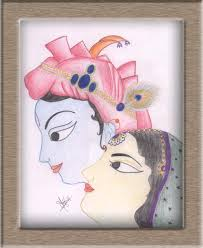 art on sketchbook by megha chhatbar color pencils drawing radha
