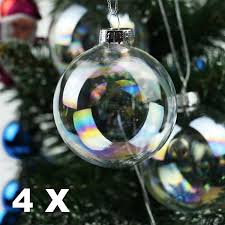 6 fillable 70mm iridescent glass bauble ornaments
