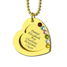 Kids Names Necklace Engraved Heart Birthstones Necklace Gold Color Personalized Kids