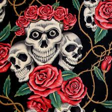 fabric the skulls and roses black and tea