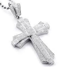 necklace cross diamond images Large sterling silver mens diamond cross pendant 1 14ct jpg