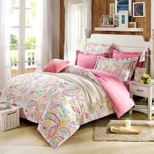 cliab paisley bedding pink twin girls duvet cover set 100 cotton