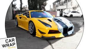 wrapped cars yellow ferrari 488 racing car wrapped matte white the hardest