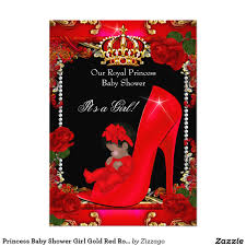 princess baby shower gold red rose shoe 2 5x7 paper