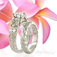 Hawaiian Wedding Rings by Hawaiian French Mount Collection Deep Cut Maile U0026 Plumeria Flower